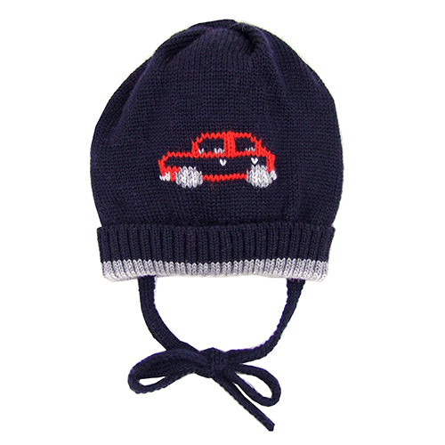"Catya ""Cars"" Baby Boy Wool Hat with Ties"
