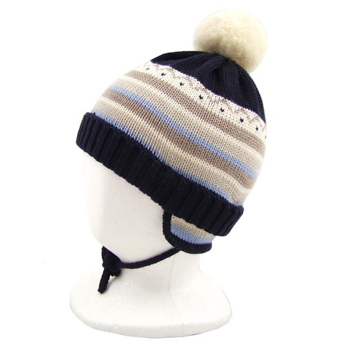 "Catya ""Jim"" Boys (baby/little kids) Wool Hat with Pom Pom and chin ties."