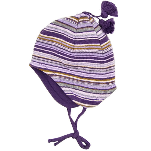 MP Hempels Baby Girl Cotton/Fleece Purple Hat with Ties.