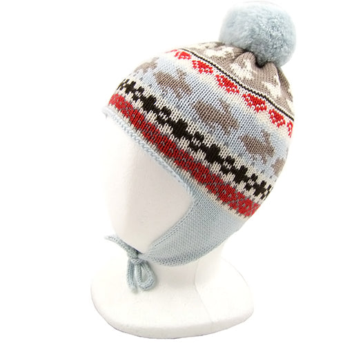 "Catya ""Stan"" Boys (little kids) Merino Wool Hat with Pom Pom and Ties"