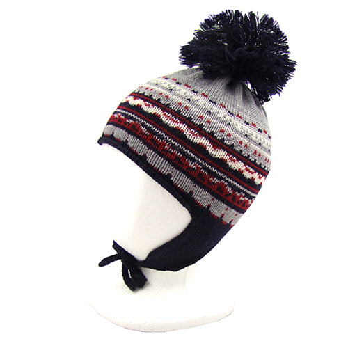 "Catya ""Leo"" Boys Merino Wool Hat with Pom Pom and Ties"