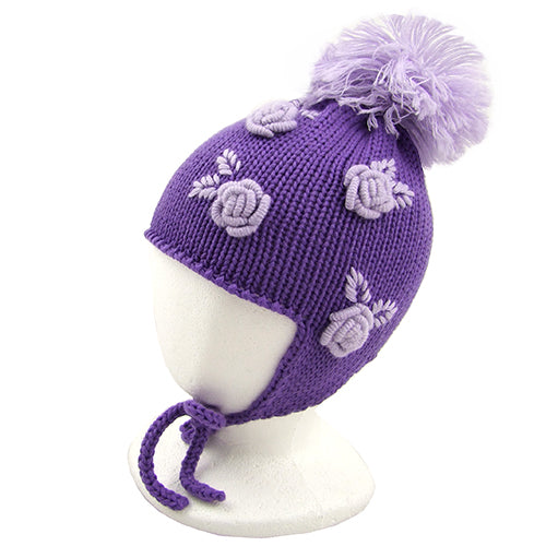 "Catya ""Rose"" Girls Merino Wool Hat with Pom Pom."