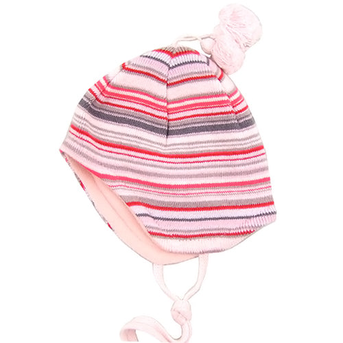 MP Hempels Baby Girl Cotton/Fleece Pink Hat with Ties.
