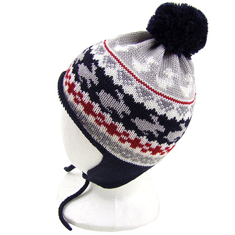 "Catya ""Stan2"" Boys (little kids) Merino Wool Hat with Pom Pom and Ties."