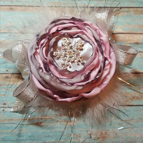 """Shabby Chic"" Girls Pink/Grey Flower Hair clip"