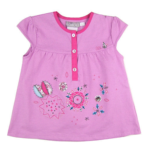 Boboli *Flower* Girls Short Sleeve Top