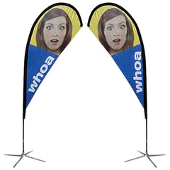 Image of Small to Extra Large Teardrop X-Base Flag - Double-Sided Graphic