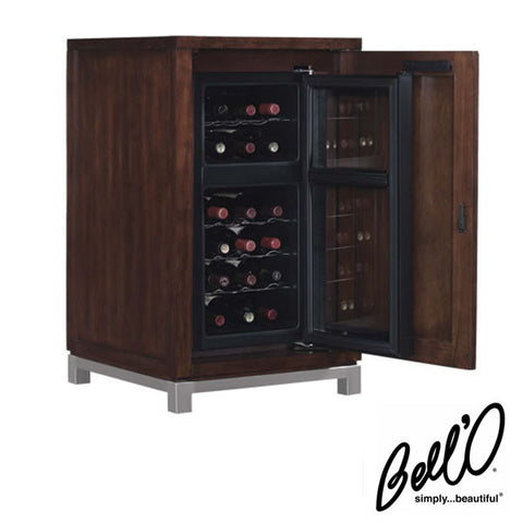 Bell'O Wesleyan Freesatanding 18 Bottle Wine Cabinet with Dual Zone Cooler in Meridian Cherry