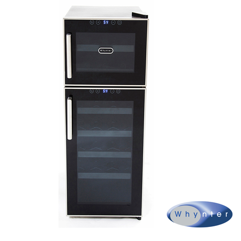 Whynter 21 Bottle Dual Zone Touch Control Freestanding Wine Cooler