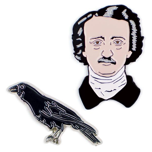 Poe and Raven Enamel Pins
