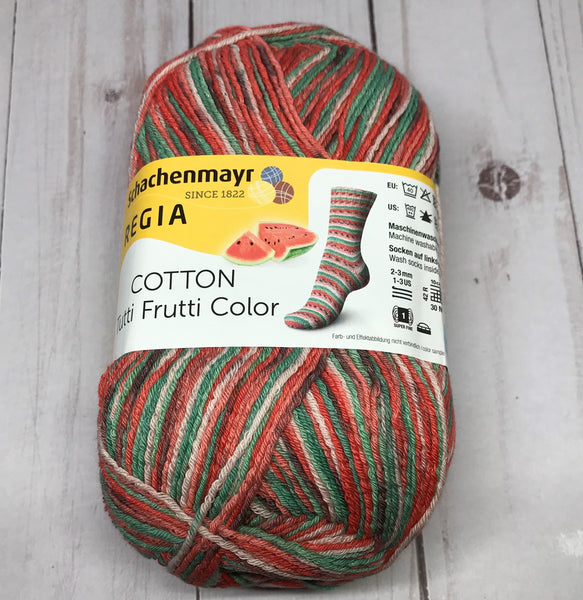 Regia Cotton Tutti Frutti Color Sock Yarn - Watermelon