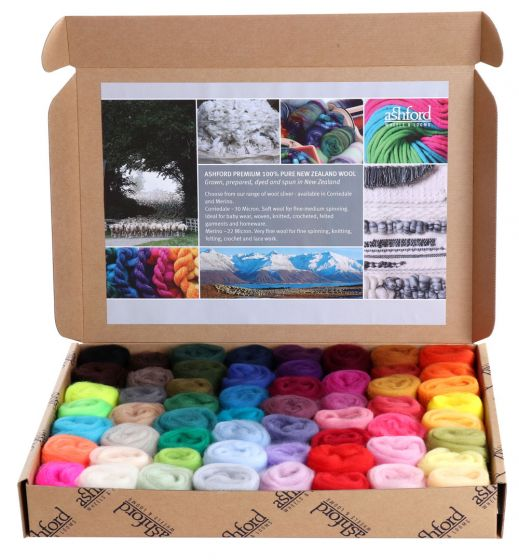 New Zealand Merino Sliver Sample Pack Full Colour Range