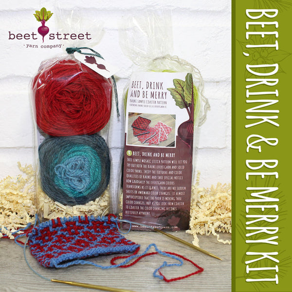 Beet, Drink, and Be Merry Kauni Coaster Kit