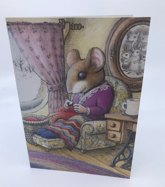 Knitting Mouse Greeting Card - Phoebe's Sweater