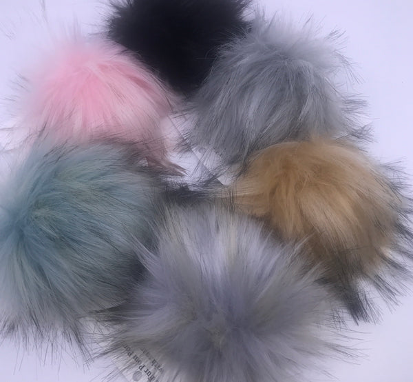 Large Faux Fur Snap On Pom Poms