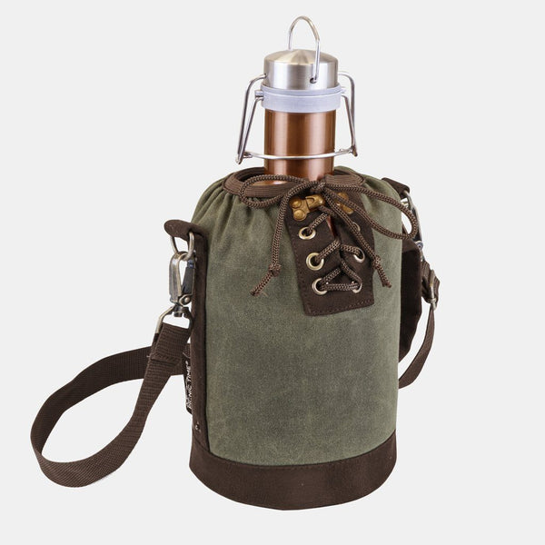 Copper 64 OZ Stainless Steel Growler With Khaki Canvas Carry Tote
