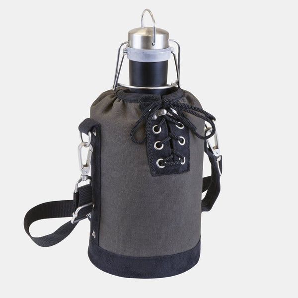 Matte Black 64 OZ Stainless Steel Growler With Grey Canvas Carry Tote