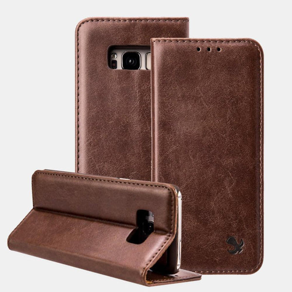 Brown Luxmo Samsung Galaxy S8/ S8 Plus Luxury Magnetic Flip Leather Wallet Case