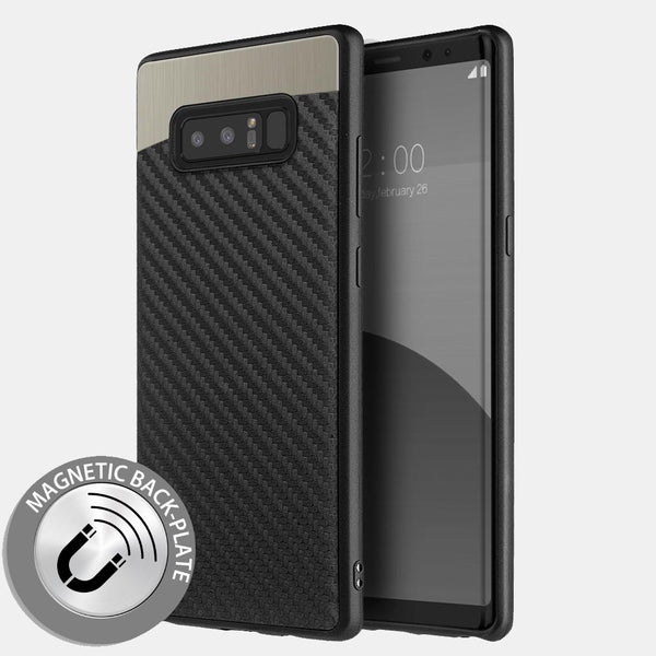 Samsung Galaxy Note 8 Black Carbon Fiber Metallic Fusion Candy TPU Case
