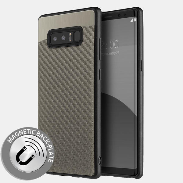 Samsung Galaxy Note 8 Grey Carbon Fiber Metallic Fusion Candy TPU Case