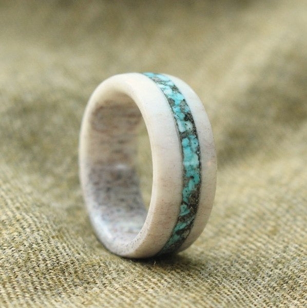 ELK ANTLER AND NATURAL TURQUOISE RING