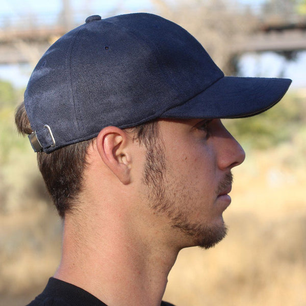 Charcoal Blue Suede Six-Panel Hat