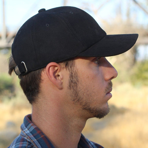 Black Suede Six-Panel Hat