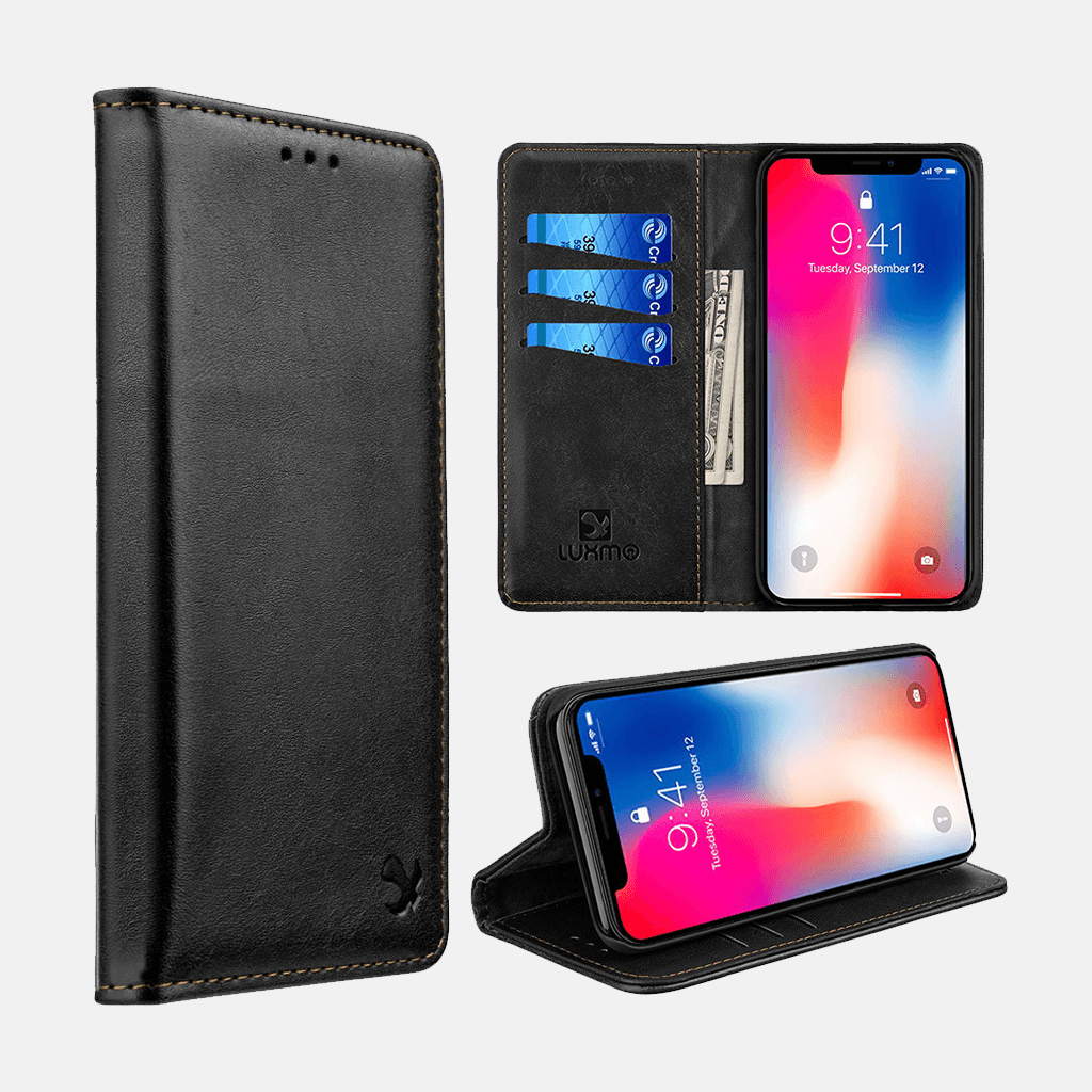 Black Luxmo Apple iPhone XS MAX Luxury Magnetic Flip Leather Wallet Case