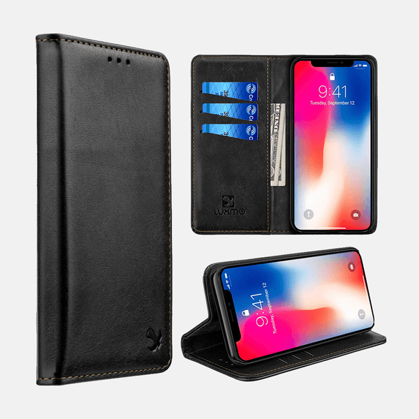 Black Luxmo Apple iPhone XR Luxury Magnetic Flip Leather Wallet Case
