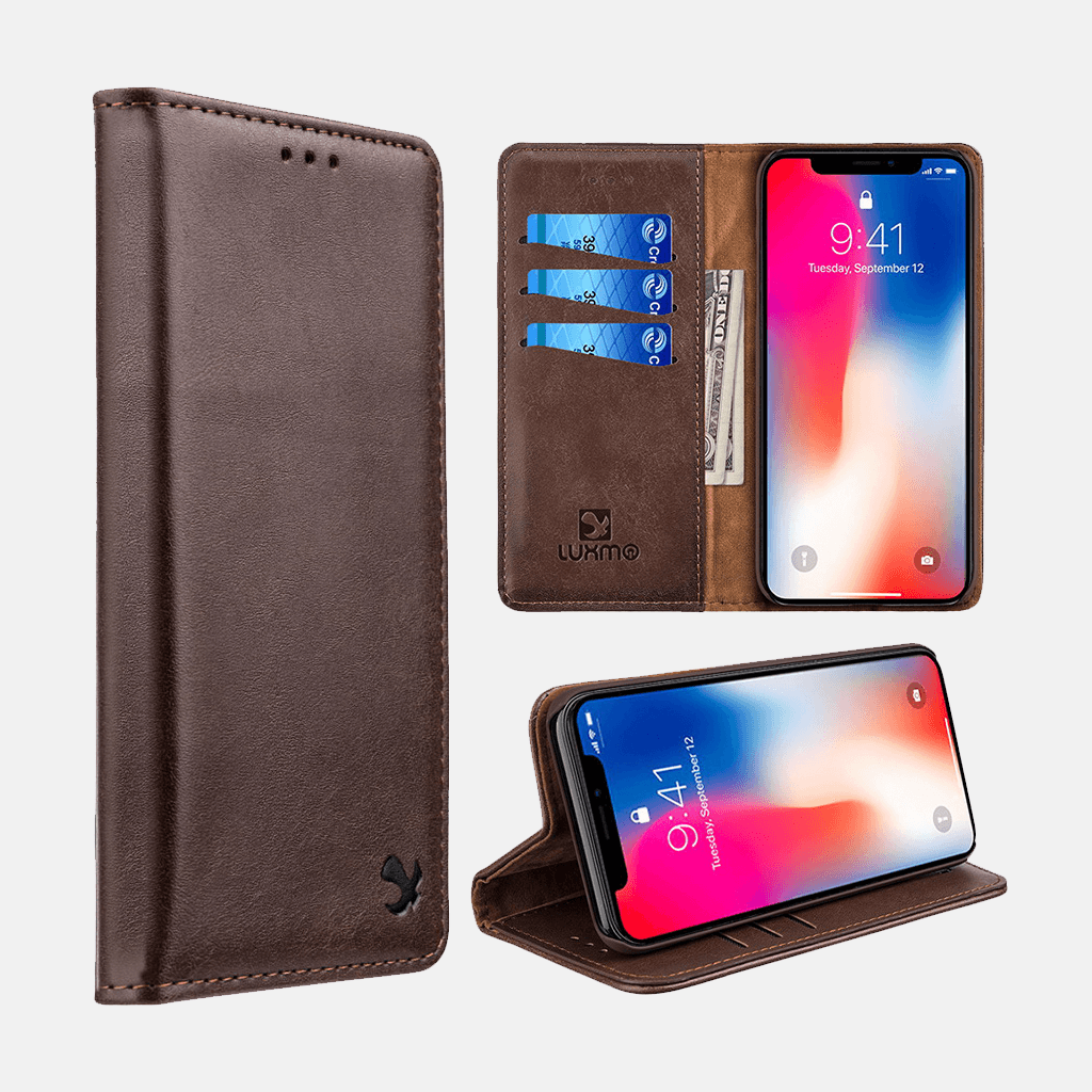 431e5819981 Brown Luxmo Apple iPhone XS MAX Luxury Magnetic Flip Leather Wallet Ca –  Forrest & Harold