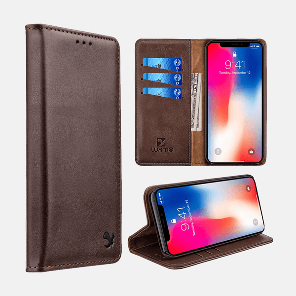 Brown Luxmo Apple iPhone XS MAX Luxury Magnetic Flip Leather Wallet Case
