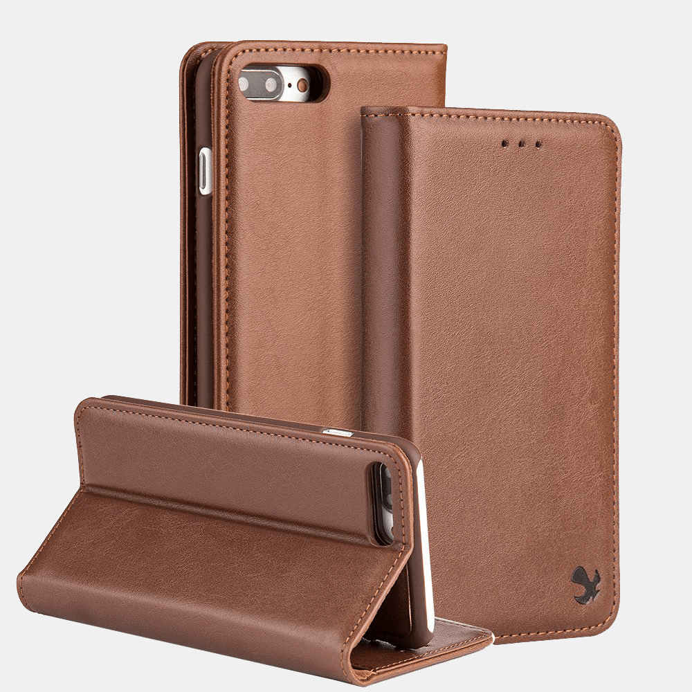 Brown Luxmo Apple iPhone 6/7/8 Luxury Magnetic Flip Leather Wallet Case