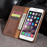 Brown Luxmo Apple iPhone 6/7 Luxury Magnetic Flip Leather Wallet Case