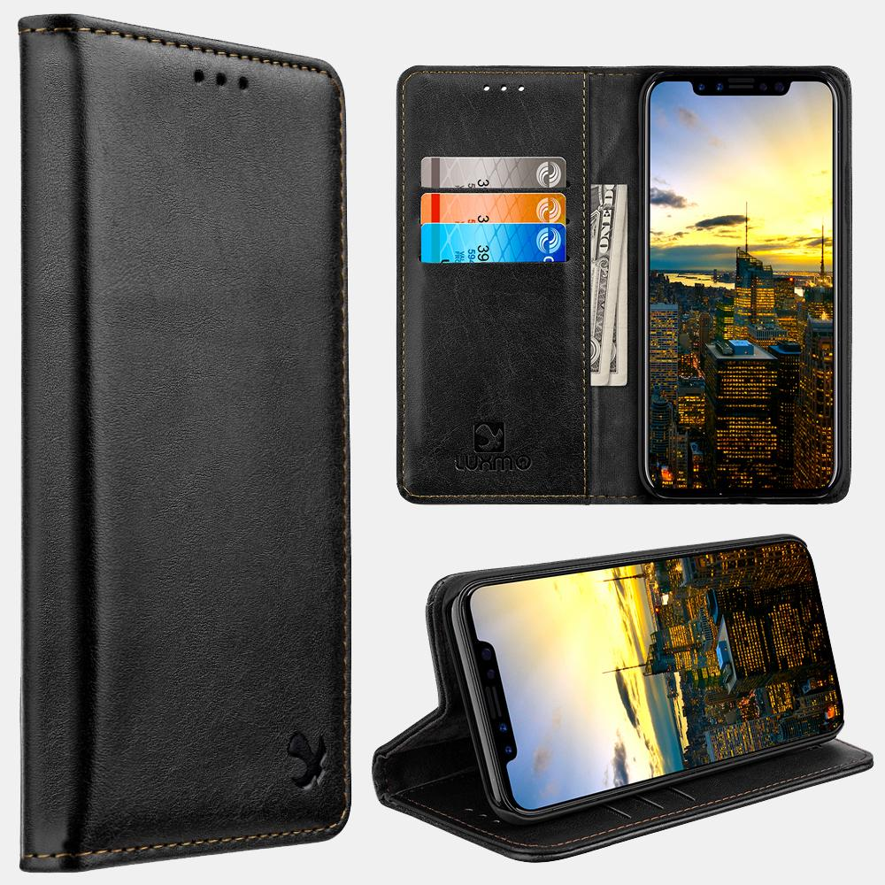 Black Luxmo Apple iPhone 6/7/8 Luxury Magnetic Flip Leather Wallet Case