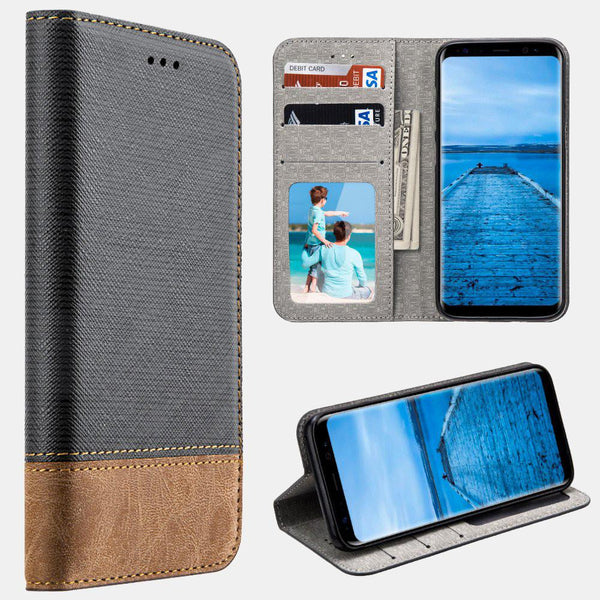 Grey Samsung Galaxy S8/ S8 Plus Urban Textile Dual Tone Leather Wallet Pouch Folio Case