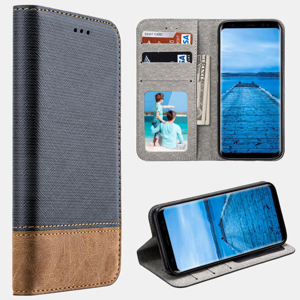 Navy Samsung Galaxy S8/ S8 Plus Urban Textile Dual Tone Leather Wallet Pouch Folio Case