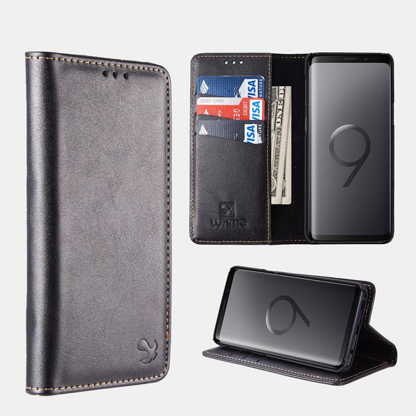Black Luxmo Samsung Galaxy S9/ S9 Plus Luxury Magnetic Flip Leather Wallet Case