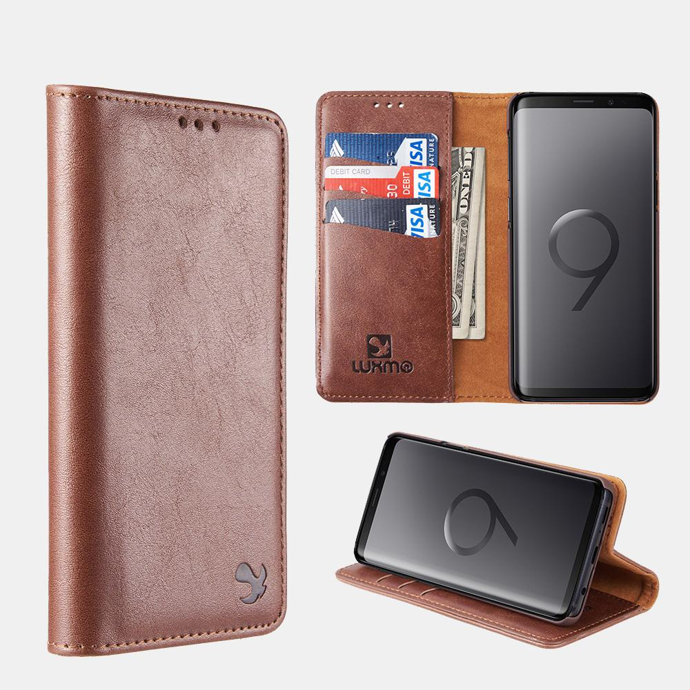 Brown Luxmo Samsung Galaxy S9/ S9 Plus Luxury Magnetic Flip Leather Wallet Case
