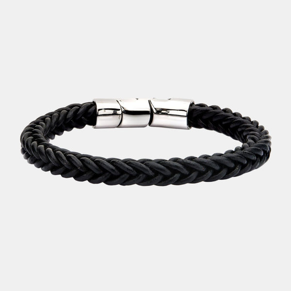 Bennet Inox Black Leather And Stainless Steel Magnetic Clasp Bracelet