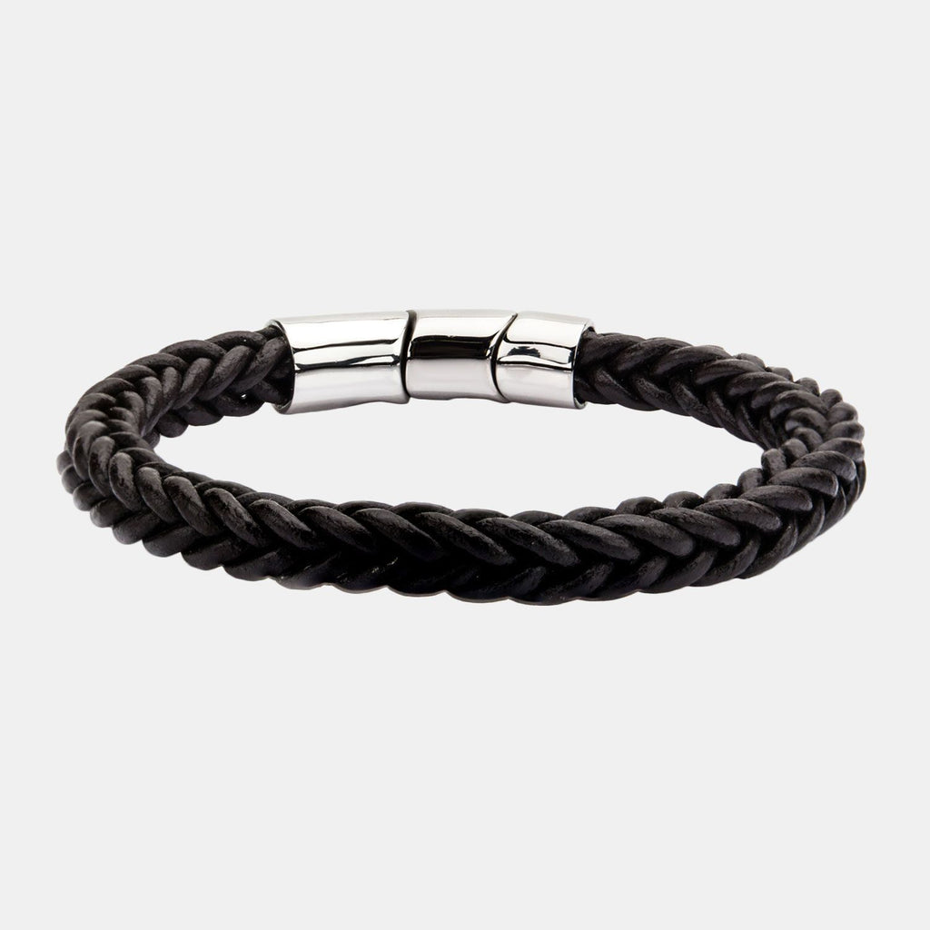 Angus Inox Brown Leather And Stainless Steel Magnetic Clasp Bracelet