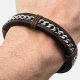 Dalton Inox Stainless Steel And Leather Bracelet