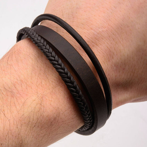 Gentry Inox 3 Layer Leather Bracelet