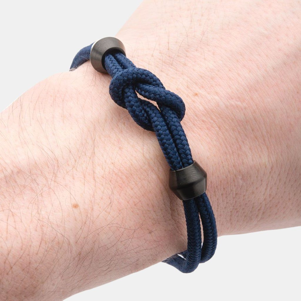 Griffin Inox Blue Paracord Knot Bracelet With Black Ion Plated Beads