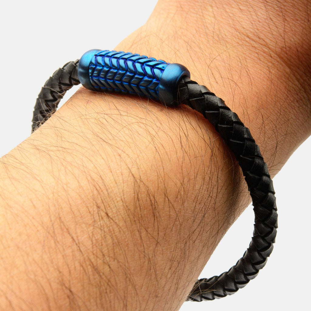 Preston Inox Black Braided Leather Bracelet With Stainless Steel Blue IP