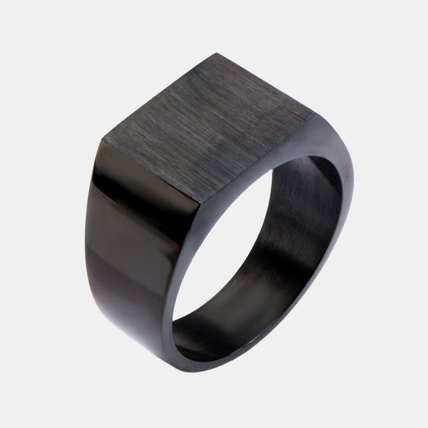 Shadow Of Steel Black Ion Plated Engraveable Polished And Matte Finished Stainless Steel Ring