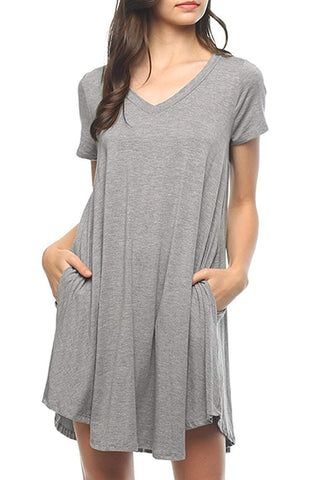 Mitto Shop Bamboo Fiber Knit Short Sleeve V-Neck T-Shirt Dress