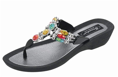 Grandco Aruba Thong Sandals - Black - 10