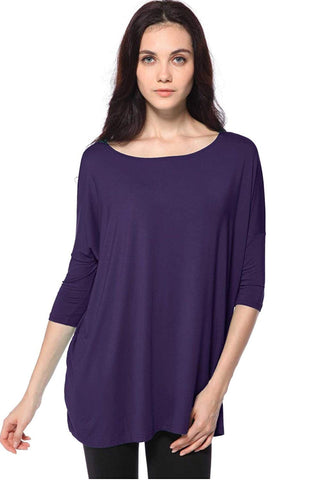 Piko Women's 1988 Famous 3/4 Sleeve Bamboo Top Loose Fit (Dk.Purple , S )