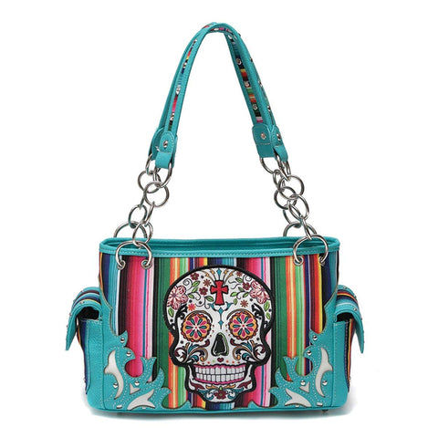 Western Handbag - Multi-Color Serape Fabric Texture Day of the Dead Sugar Skull Concealed Carry Shoulderbag with Stud Accents
