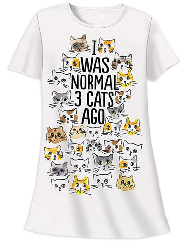 "100% Cotton ""I Was Normal 3 Cats Ago"" Crazy Cat Lady Nightshirt One Size"